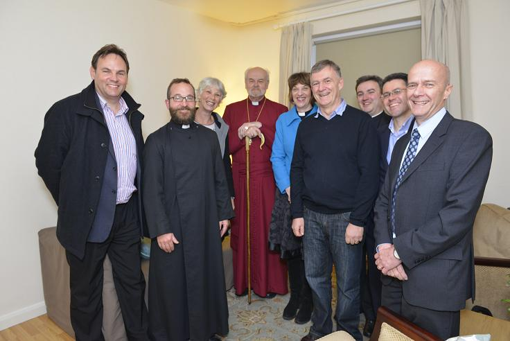 The London Missional Housing Bond Board in the flat in Bethnal Green with The Bishop of London, the Archdeacon of Hackney, Revd Adam Atkinson, Vicar of St Peter's and Canon Dr Angus Ritchie, Director of CTC.