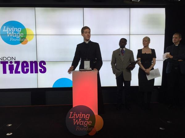 Our research associate Fr Simon Cuff helps to launch Living Wage Week 2014